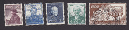 Ireland, Scott #159, 161, 163, 165, 169, Used, O'Crochan, Brown, Father Wadding, Clarke, Constitution, Issued 1957-58 - 1949-... Republic Of Ireland