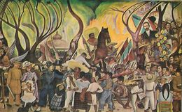 CARTE POSTALE ORIGINALE ANCIENNE : MEXICO CITY  VUE PARTIEL DU MUR DE DIEGO RIVIERA A L'HOTEL DEL PRADO MEXIQUE - Peintures & Tableaux