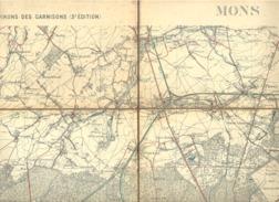 MONS - Carte Topographique Militaire Toilée En Couleurs Des Environs Des Garnisons 1901  , 56 / 6- 1 /20.000 (b223) - Topographical Maps