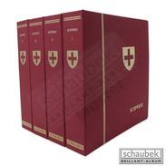 Schaubek Dsp809 Screw Post Binder Cloth With Golden Country Embossing And Coat Of Arms Vaticano Blue - Groot Formaat, Zwarte Pagina