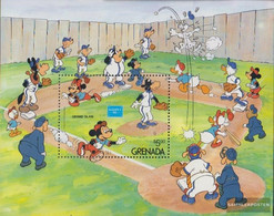 Grenada Block159 (complete.issue.) Unmounted Mint / Never Hinged 1986 Walt-Disney-Figures At Baseball - Grenada (1974-...)