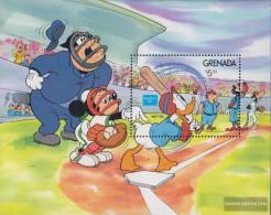 Grenada Block158 (complete.issue.) Unmounted Mint / Never Hinged 1986 Walt-Disney-Figures At Baseball - Grenada (1974-...)