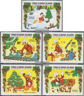 Turks- And Caicos-Islands 712-716 (complete.issue.) Unmounted Mint / Never Hinged 1984 Christmas: Walt-Disney-Figures - Turks And Caicos