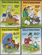 Turks- And Caicos-Islands 532-535 (complete.issue.) Unmounted Mint / Never Hinged 1981 Easter: Walt-Disney-Figures - Turks And Caicos