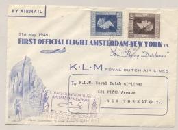 Nederland - 1946 - 1e KLM Flight Amsterdam - New York - Special Cover Pieter Stuyvesant - 1891-1948 (Wilhelmine)