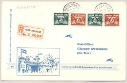 Nederland - 1946 - Trajectpost Naar Glasgow Met 1e KLM Flight Amsterdam - New York - Curacao  - Special Card - Brieven En Documenten