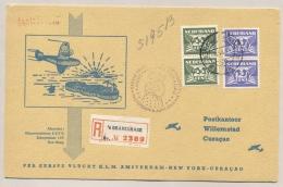 Nederland - 1946 - R-card Met 1e KLM Flight Amsterdam - New York - Curacao En Terug - Special Card - Periode 1891-1948 (Wilhelmina)