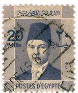 EGITTO, EGYPT, COMMEMORATIVI, RE FAROUK, 1944, FRANCOBOLLI USATI Yvert Tellier 195A   Scott 216 - Egipto