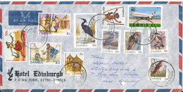 Zambia Air Mail Cover Sent To Germany 27-101-1987 With A Lot Of Topic Stamps Birds And Other (archive Holes On The Cover - Zambia (1965-...)