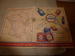 1930 -1945 Protège Cahier Publicitaire PILE WONDER Avec Système Métrique,Emploi Du Temps Et Carte De France - Kakao & Schokolade
