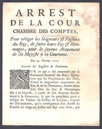 ARREST De La Cour Chambre Des Comptes Avènement De Louis XV  METZ 25 FEVRIER 1717 - Décrets & Lois