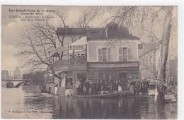 """Essonne - Les Inondations De La Seine - Janvier 1910 - Corbeil - Restaurant """"A L'Acacia"""" - Quai De La Pêcherie - Corbeil Essonnes"""