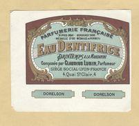 Etiquette Parfum Eau Dentifrice Printemps à La Mandarine Claudius Lubin Parfumeur LYON Dorelson Format : 7,6 Cm X 8,9 Cm - Etiquettes