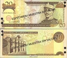 Dominikanische Republik Pick-Nr: 169s1. Bankfrisch 2001 20 Pesos Oro Specimen - Dominicana