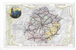 LES  DEPARTEMENTS  -  SARTHE   - Chromo Chocolaterie D'Aiguebelle -   -  L 1 - Fiches Illustrées