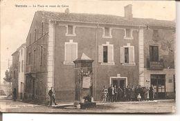 Terrats - La Place Et Route De Céret ( Rare ) - Autres Communes