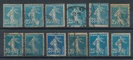 140 Semeuse 25c Bleu (o) En Lot De 12 Timbres Types Et Couleurs à Définir - 1906-38 Semeuse Camée