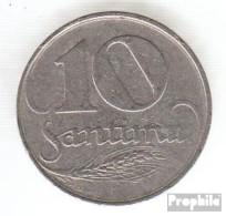 Lettland KM-Nr. : 4 1922 Sehr Schön Nickel Sehr Schön 1922 10 Santimi Wappen - Latvia