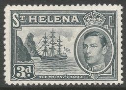 St Helena. 1938-44 KGVI. 3d Gray MH. SG 135a - Saint Helena Island