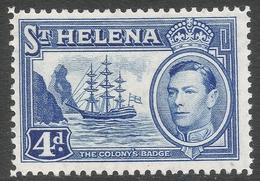 St Helena. 1938-44 KGVI. 4d MH. SG 135b - Saint Helena Island
