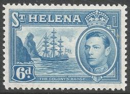 St Helena. 1938-44 KGVI. 6d MH. SG 136 - Saint Helena Island