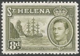 St Helena. 1938-44 KGVI. 8d MH. SG 136a - Saint Helena Island