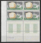 France -1962 - Bloc De 4 Numéroté - Télécommunications Spatiales -  Y&T N° 1360 ** Neuf Luxe  (gomme D'origine Intacte) - Nuovi