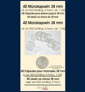 40 Münzkapseln Prophila 38 Mm Z.B. Für 500 Schilling, 5 Franc, Div. US$ Klar - Supplies And Equipment
