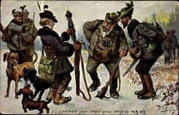 Artiste Cp Thiele, Arthur, Jägerhumor, Schirm Statt Jagdgewehr, Dackel - Illustratoren & Fotografen