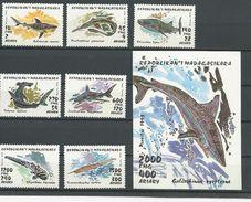 MADAGASCAR  Scott 1280-1286, 1287 Yvert 1249-1255, BF87 (7+bloc) ** Cote 8,25 $ 1993 - Madagascar (1960-...)