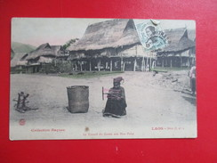 CPA LAOS LE TRAVAIL DU COTON AUX HUA PAHN - Laos
