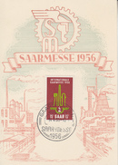 Carte  Maximum  1er Jour  SARRE   Foire   Internationale   SAARBRÜCKEN    1956 - Tarjetas – Máxima
