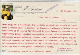 Luzzara, Produzione Formaggio Reggiano - Parmigiano, Fratelli Bertoni. Interno Di Lettera Per Lugo 1926 - Italia