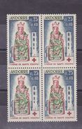 Andorra 1964 Red Cross,block Of Four MNH Sc B1         A289 - French Andorra