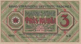 (B0257) LATVIA, 1919. 3 Rubli. P-R2. UNC - Lettonie