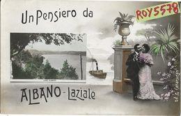 Lazio-roma-albano Laziale Un Pensiero Da Albano Laziale Particolare Cartolina Veduta Lago Innamorati Nave Primi 900 - Altre Città