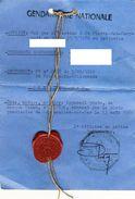 FICHE De Scellé Suite à Vol établi Au 5/09/1980 Magnifique Cachet De Cire Rouge Avec Flamme Gendarmerie RARE - Police