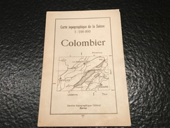 Karte Der Schweiz - Carte De La Suisse - Colombier - 1937 - Topographische Karten