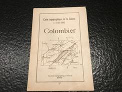 Karte Der Schweiz - Carte De La Suisse - Colombier - 1937 - Topographical Maps