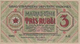 (B0466) LATVIA, 1919. 3 Rubli. P-R2. AUNC (AU) - Lettonie