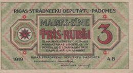 (B0523) LATVIA, 1919. 3 Rubli. P-R2. XF+ - Latvia