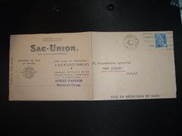LETTRE (PLI) AR SACS UNION TP M.DE GANDON 15F OBL.MEC.23 II 1952 ANGERS RP MAINE-ET-LOIRE (49) - Marcophilie (Lettres)