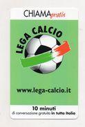 Telecom - Scheda Chiama Gratis - 2002 - LEGA CALCIO - 10 Minuti Di Conversazione Gratuita - NUOVA - (FDC7565) - [2] Sim Cards, Prepaid & Refills