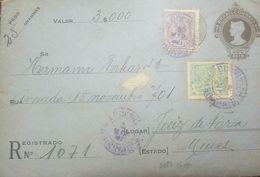 L) 1921 BRAZIL, INDUSTRY, 50 REIS, GREEN, PEOPLE, WORK, PURPLE, 500 REIS, QUEEN, INTERNAL USAGE, XF - Brazil