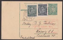 Jugoslavien Zagreb Ganzsache Mit Zusatzfrankatur 1934 An Verlag Teubner Leipzig - Brieven En Documenten