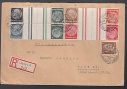 DR Einschreiben Zusammendruck Hindenburg KZ 23.3; KZ34; KZ 35; KZ36 1942 Leipzig Nach Wien Portorichtig K911 - Germany