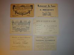 03 ALLIER LOT 6 CARTES VISITES COMMERCIALES 1930 -1940 HOTEL RESTAURANT CAFE MONTMARAULT MOULINS ST POURCAIN LE DONJON - Cartes De Visite