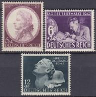 DR 810-812, Postfrisch **, Mozart, Tag Der Briefmarke, Heldengedenken 1941/42 - Ungebraucht