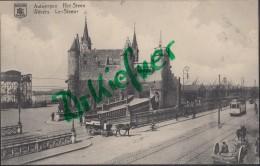 Feldpost: 2. Eskadron Husaren-Regt. Nr. 9, Antwerpen 9.12.1915, Motiv: Anvers, Le Steen, Straßenbahn, Fahrrad, Kutsche - 1914-18