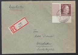 DR Deutsche Dienstpost Ukraine Eckrandstück 1943 Luzk Nach Wiesbaden K921 - Besetzungen 1938-45